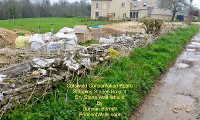 The Cotswold AONB work with new dry stone wallets to introduce them to walling asa profession