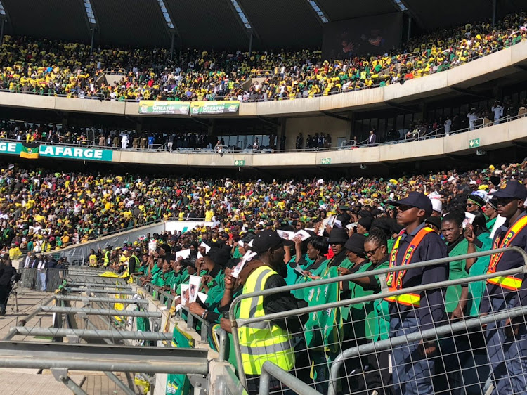 Mouners gather at Orlando Stadium in Soweto for the funeral of Winnie Madikizela-Mandela.