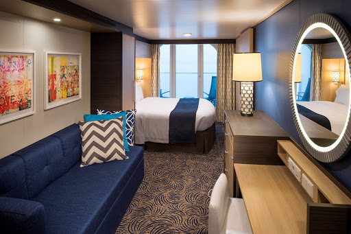 ovation-of-seas-oceanviewbalc - An Ocean View Balcony stateroom on Ovation of the Seas (digital rendering).