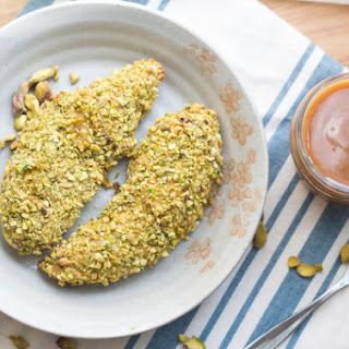 Pistachio-Crusted Chicken Tenders with Honey Mustard Dipping Sauce.