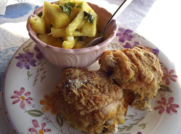 Oven Fried Chicken With Fresh Pineapple Side Recipe