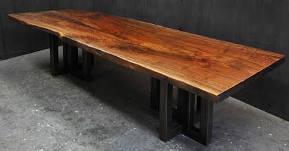 Photo: the latest claro walnut slab table 7/2016 http://dorsetcustomfurniture.blogspot.com/2016/06/a-custom-claro-walnut-slab-table.html