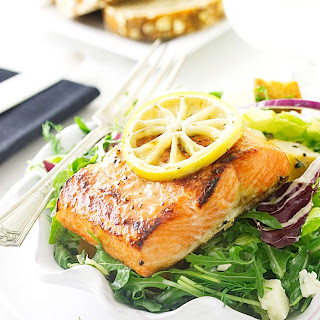 Herb Salmon Salad with Blue Cheese Dressing Recipe