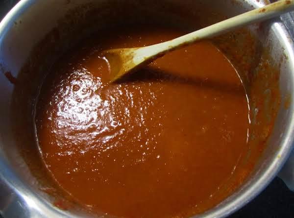 Enchilada Sauce After Simmering For 5 Minutes.