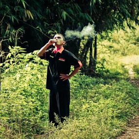 smoking ace by Honami Ariyoshi - People Portraits of Men