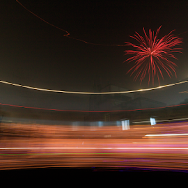 Surrounding by lights by Subhajit Basak - Abstract Fire & Fireworks ( kolkata, canon eos, night, abstract lines, abstract, long exposure, fireworks, india, canon, diwali, light, culture, fire, night time, nightscapes, lights, abstract photography,  )