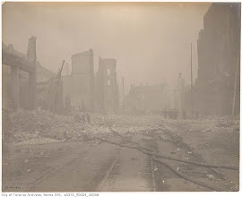 Photo: Aftermath of the 1904 fire: streetcar tracks and hoses