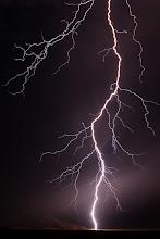Photo: Lightning strike. Sesriem, Namibia