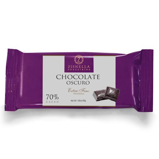 chocolate zisnella oscuro 70% cacao 30gr