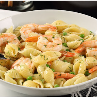 Shells and Shrimp with Garlic Wine Lobster Sauce.