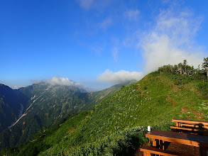 赤沢岳やスバリ岳など高い山は雲に覆われ