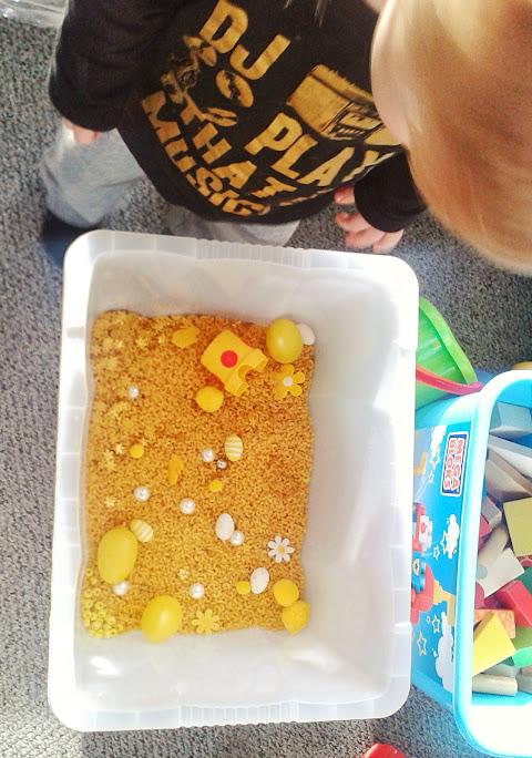 Welcome to Mommyhood: yellow Easter sensory bin