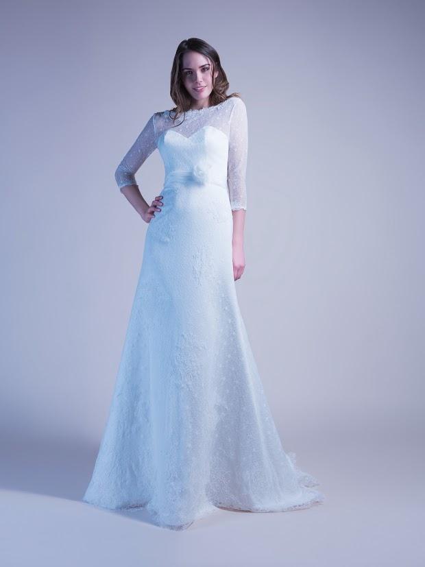 Robe de mariée Guillemette, robe de mariée manches longues 3/4, robe de mariée dentelle fine