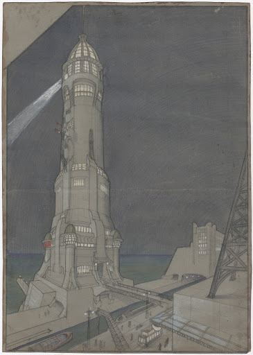The new city: monumental lighthouse front