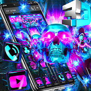 3D Glass Colourfull Neon Skull Theme‏