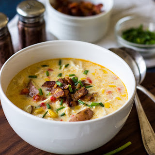 Creamy Chicken Corn Chowder with Bacon.