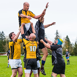 Boys Will Be Boys by Garry Dosa - Sports & Fitness Rugby ( game, sports, teams, rugby, black, yellow, people, orange, running, outdoors, men, action, competitive, movement, sport )