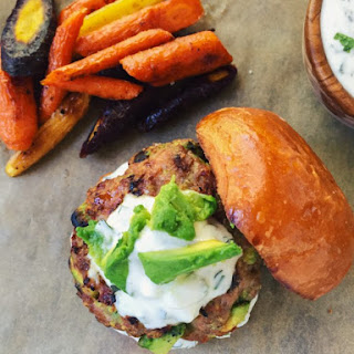 Turkey Avocado Burgers With Mint Cucumber Yogurt Sauce
