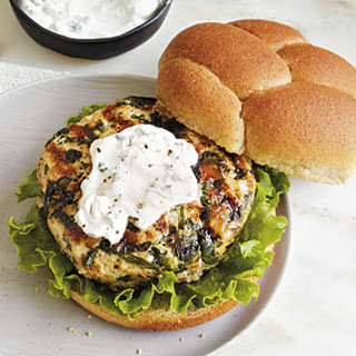 Grilled Turkey Burgers with Goat Cheese Spread