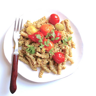 Parsley, Caper and Lemon Pesto Pasta with Macerated Tomatoes.