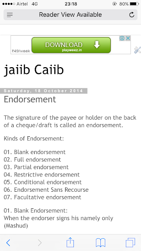partial endorsement