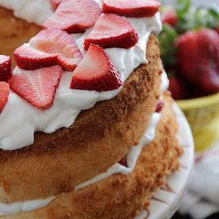 Strawberry Lemon Fluff Angel Food Cake
