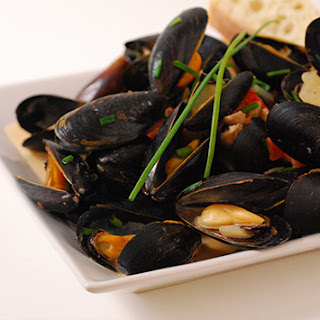 White Wine and Cream Steamed Mussels.