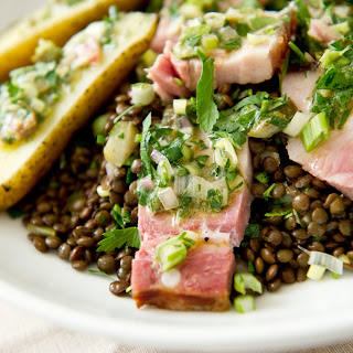 Warm Lentil and Smoked Pork Belly Salad
