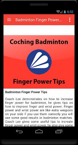 android Badminton Finger Power Tip Screenshot 1