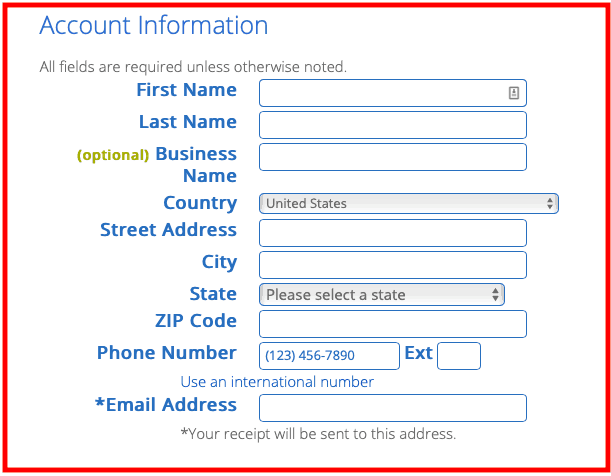 Bluehost Signup process: Add Personal Information