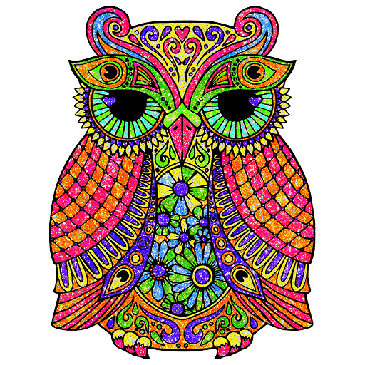 Owl Glitter Color by Number-Animals Coloring Pages Icon