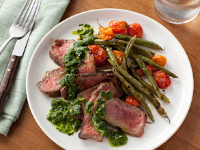 Photo: Get the recipe for Grilled Steak with Green Beans, Tomatoes and Chimichurri Sauce >> http://ow.ly/gKQqR