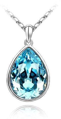 Swarovski Elements 18K White Gold Plated Necklace encrusted with Blue Swarovski Crystals, SWR-372.jpg