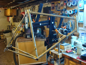 Photo: Burns aside, the frame is fully brazed and soaked, it'll need some machining, finishing and then just a couple final small braze on's.