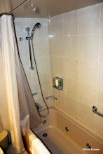 Photo: The full length jacquzzi-style bath with shower and same Elemis products.