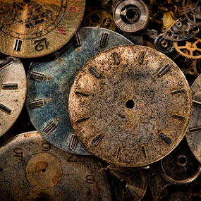 Time will heal time's wounds. by Mike Ritchie - Artistic Objects Jewelry ( macro, time, old, metal, blue, numbers, watch, parts, brown, yellow, lightpainting. )