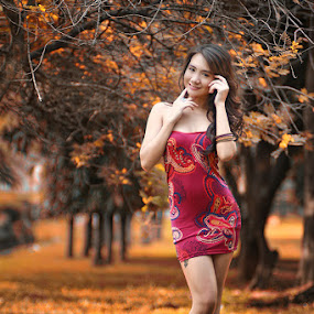 Autum's Memory by Chandra Irahadi - People Portraits of Women ( model, false color, art, beauty, smile, , fall, color, colorful, nature )