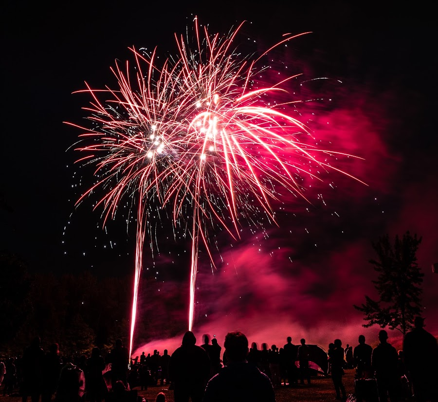 Fireworks!  Canada Day 2018 by Steve Kazemir - Public Holidays July 4th ( red, bc, canada, boom, night, british columbia, long exposure, fireworks, people )