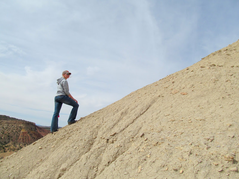 Photo: Karin on the steep slope