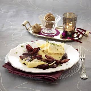 Walnut and Gorgonzola Ravioli with Braised Shallots.