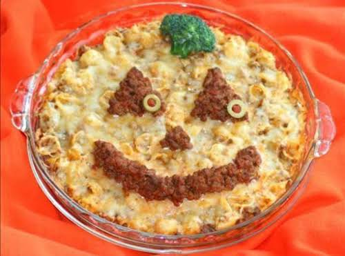 """Halloween Mac-O'-Lantern """"Before the kiddos go trick-or-treating, surprise them with this hearty..."""