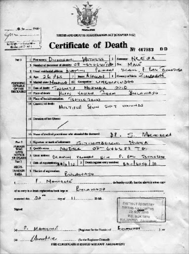 Sample of death certificate south africa choice image certificate sample of death certificate in south africa choice image sample death certificate zimbabwe image collections certificate yelopaper Images
