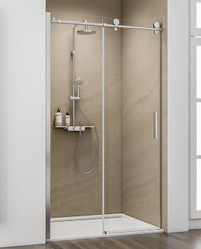 Porte de douche coulissante en niche, poignée barre, 120, 140 ou 160 cm