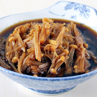 Enoki Mushrooms in Mirin and Soy Sauce [Vegan]