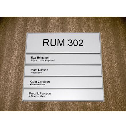 Rumsskylt 4-panel 204x62+31+31+31+31mm