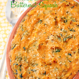 Twice Baked Butternut Squash w/ Brie & Spinach