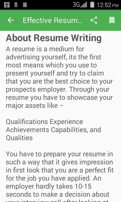 effective resume writing screenshot