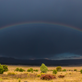 From the Land of Enchantment by Nathan Robertson - Landscapes Weather ( contrast, mountains, nature, meadows, symmetry, rainbow, panorama, rain,  )