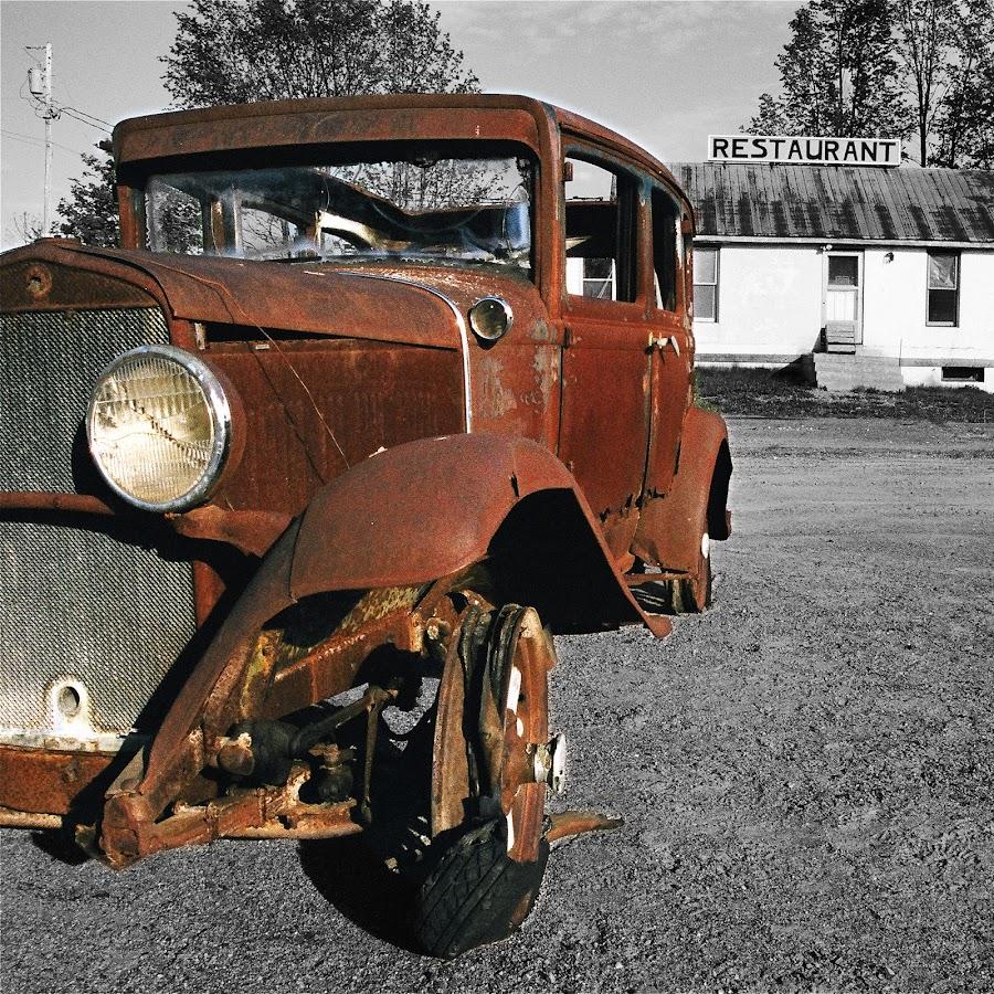 Rusted by Kevin Druce - Uncategorized All Uncategorized ( car, b&w, selective colour, automobile, antique,  )