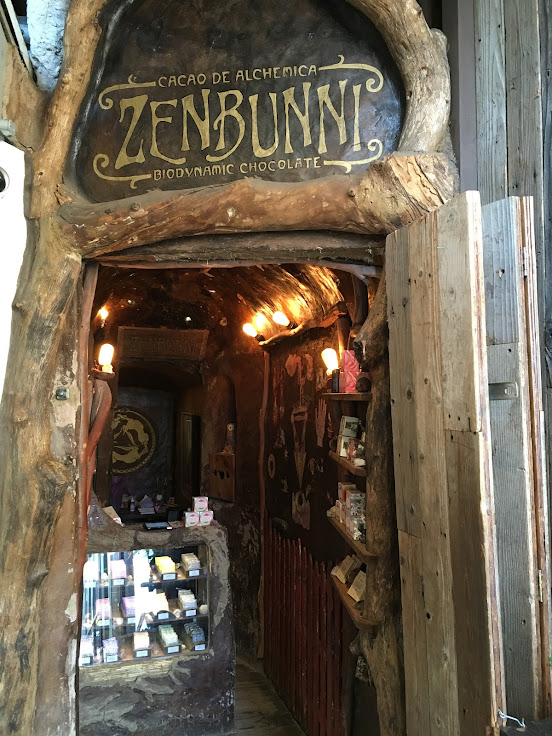 Zenbunni is hidden in what looks to be a hollowed out tree trunk.